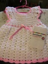 WHITE SHELLS PINK TRIMS CROCHET BABY DRESS size 12-24 mos WHITE TIGHTS