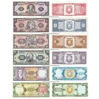 Ecuador 5 + 10 + 20 + 100 + 500 + 1000 Sucres Set of 6 Banknotes 6 PCS UNC