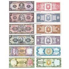 More details for ecuador 5 + 10 + 20 + 100 + 500 + 1000 sucres set of 6 banknotes 6 pcs unc