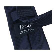 Drake's Cravatta Uomo Blu Foderata cm 7 100 seta Made in England