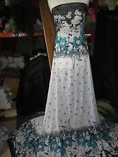 """Vestido De Encaje 1.5 M Blanco/Negro/Verde Floral Spandex Nylon Lycra Tela 58"""" de ancho"""