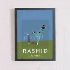 More details for adil rashid england cricket odi team art print - world cup winners a3 a4 poster