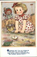 Little Girl Playing in Tide Pool Poem - Phyllis Purser Postcard
