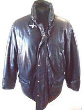 Fay  Black Leather Coat Goose Down Coat Jacket  Sz XL