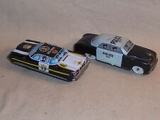 2 Vintage P.D Police Tin Cars TN Japan and Italy Modele Depose Police 777 Rare