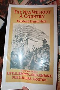 The Man Without A Country Original Antique Book Poster 1895 Little & Brown