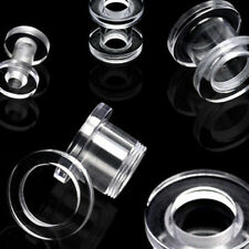 2g Clear Screw Tunnels ear gauges stretching plugs 6mm 6.5mm earrings