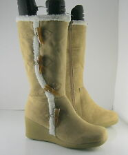 "Brown 2.5"" Wedge Heel Round Toe Mid-Calf Boot Side Button Size 8"