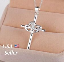 "Women 925 Sterling Silver CZ Cubic Crystal Cross Pendant Necklace 18"" N31"