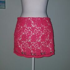 Abercrombie and Fitch Pink Neon Crochet Skirt Size 4 W 27