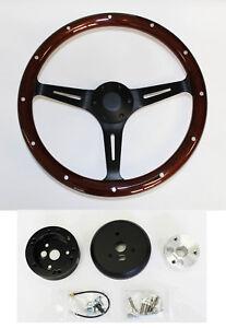 "1976-95 Jeep CJ7 YJ Wrangler Dark Mahogany Wood Black Spokes 15"" Steering Wheel"