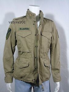 NWT RALPH LAUREN D&S Combat/Military/Field Cotton/Patches Jacket OD Green size S