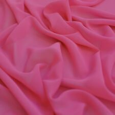 Bright Cerise Pink Chiffon Plain Woven Polyester Sheer Dress Fabric - per Metre