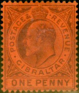 Gibraltar 1903 1d Dull Purple-Red SG47 Fine Mtd Mint