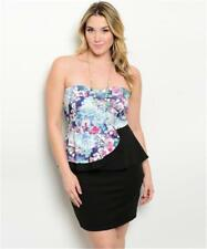 NEW..Stylish Plus Size Black Strapless Peplum dress with Floral Bodice..Sz14/1XL