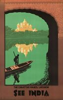 "Vintage Illustrated Travel Poster CANVAS PRINT See India Umbrella Palace 8""X 12"""