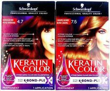 Schwarzkopf Keratin Permanent Hair Color Caramel Blonde 7.5 & Bordeaux Red 4.7