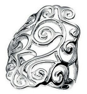Elements 925 Polished Sterling Silver Wide Band Open Filigree Ladies Shield Ring