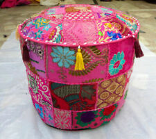 Indian Pink Ottoman Pouf Cotton Floor Cushion Cover Patchwork Handmade Dorm Art