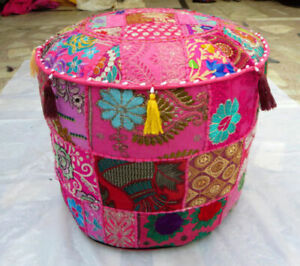 """22"""" Handmade Round Patchwork Ottoman Pouf Stool Chair Pouffe Home Decor Cover"""