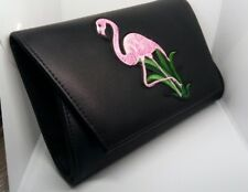 Small Black Faux Leather Clutch Bag Pink Flamingo