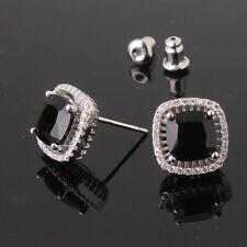 Antique black sapphire jewlery design 18k white gold filled stud earring