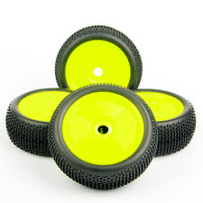 4 x RC Tires &Wheel Rim 22054+26018 For HPI HSP 1:8 Buggy Off-Road Car Yellow