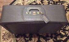 Mid-Century Blue Vinyl Suitcase Travel Case by Leed's Travelwear Vintage