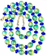 Retired JOAN RIVERS Blue-Green Long CZECH Crystal/Glass Bead NECKLACE,fjt