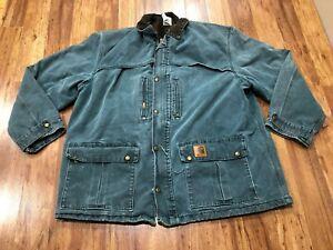 MENS 2XL - Vtg Carhartt C10 Sandstone Duck Flannel Quilt Barn Chore Coat Jacket