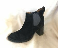ALBERTO FERMANI BLACK SUEDE PULL ON WEDGE HEEL BOOTIES BOOTS SIZE 37.5 OR US 7