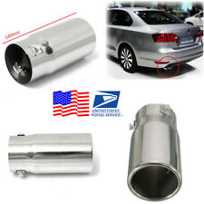 1Pcs Universal Car Stainless Steel Flat Exhaust Tail Pipe Tip Muffler -USA Stock