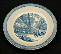 Currier and Ives 10 inch Serving Bowl Blue and White