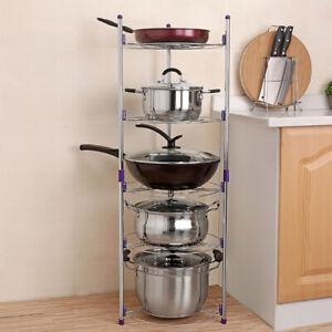 Metal Kitchen Storage Rack Pan Pot Lid Stand Holder Organizer Shelves Detachable