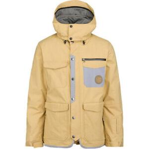 O'Neill Button Up II Zippered Shell Snowboard Jacket Men's Medium Beige Lark New