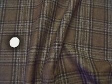 ENGLISH PURE WOOL RUSTI CHECK-OCHRE/BEIGE/BROWN -JACKET/COATING FABRIC -FREE P+P