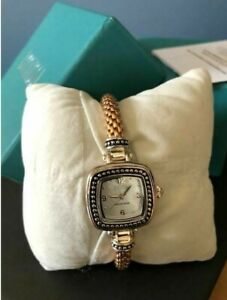 """Ecclissi Sterling Silver Golden Popcorn 7-1/4""""L Band Watch Gift"""
