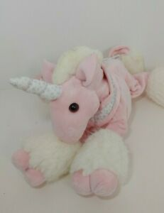 Commonwealth plush pink white unicorn silver stars collar bow FLAWS WELL USED