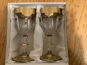 Pair Of Goblets. Gold Coloured Decoration. Boxed. New Goblets.