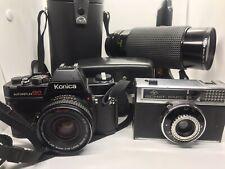 New ListingVintage Cameras & Lens w/ Case Lot Konica, Agfa, Tiffen 40mm, 62mm (Japan)