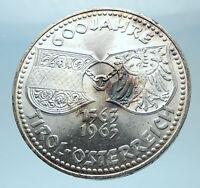 1963 AUSTRIA Tyrol and Austrian Shields Genuine Silver 50 Shilling Coin i77845