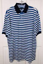 Men's Large L Tommy Hilfiger Polo Shirt Short Sleeve White & Blue Stripes