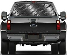 Brushed Black Diamont Plate Rear Window Graphic Decal for Truck SUV Vans