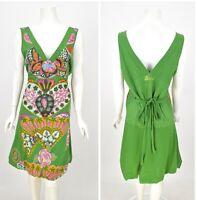 Womens Desigual Yentes Dress Green Cotton Floral Sleeveless Size XXL / 2XL