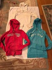 3 Pre-owned Junior Girls Hollister Long Sleeve Zip-Up Hoodies Size Small