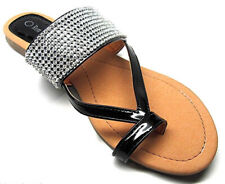 Women's Crystal Rhinestone Slip On Toe Ring Sandals Black Size 7