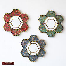 """Collection Hexagon Wall Mirror 11.8"""" set of 3, Handpained glass mirror for wall"""