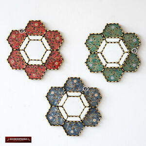 "Collection Hexagon Wall Mirror 11.8"" set of 3, Handpained glass mirror for wall"