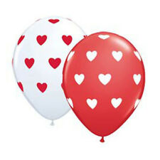 Party Supplies Wedding Birthday Big Hearts Red & White Latex Balloons Pack of 10