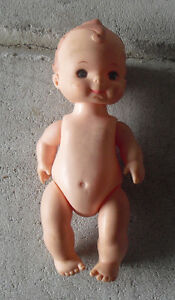 """Vintage 1960s Plastic Playmates Baby Boy Character Doll 5 1/2"""" Tall"""
